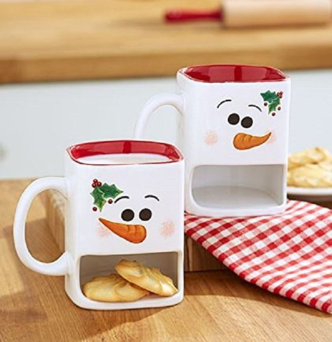 White Winter Snowman Christmas Cookie Mugs
