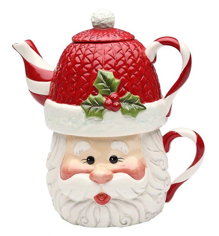 White and Red Santa Teapot