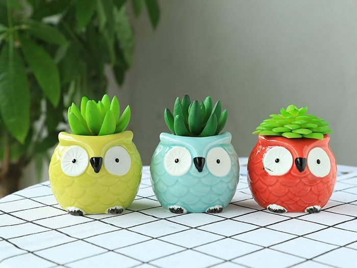Colorful Owl Flower Planters
