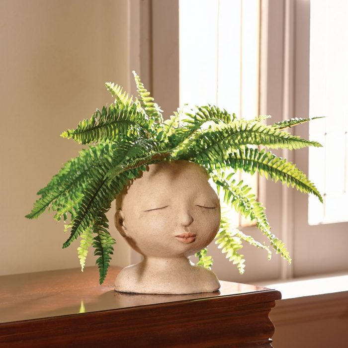 Lovable Head of a Lady Resin Planter