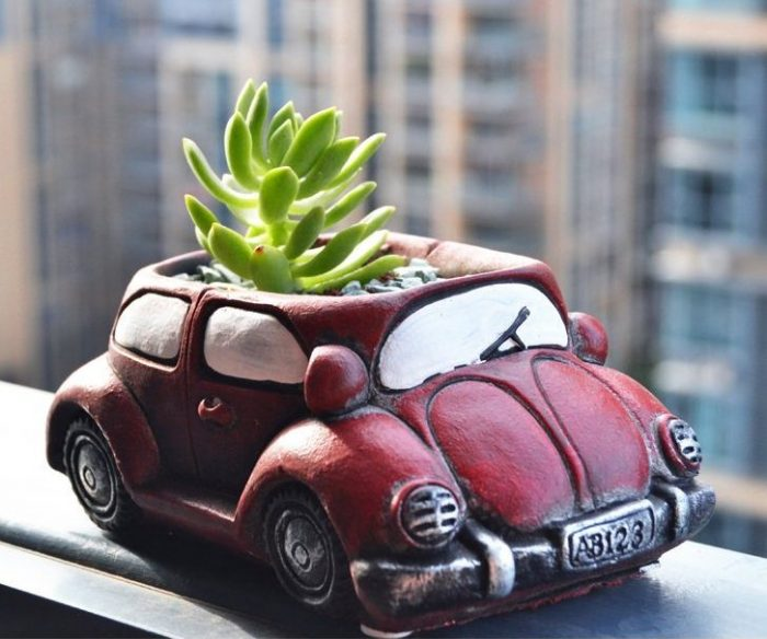 Unique Red Car Shape Planter
