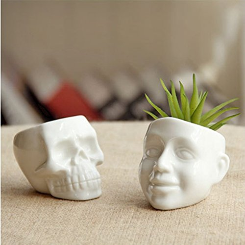 White Ceramic Cool Skull Capita Planter