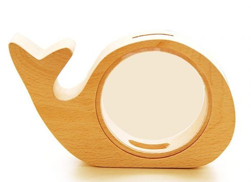 Cute Wooden Whale Piggy Bank