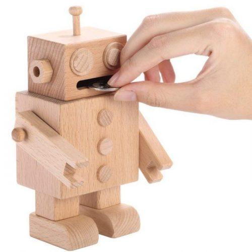 Fun Wooden Robot Piggy Bank