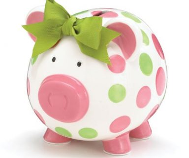 Girls Pink & Green Circles Pig Piggy Bank