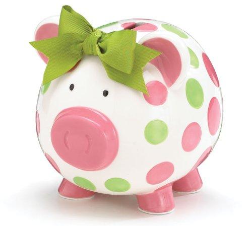 Girls Pink & Green Circles Pig Piggy Bank
