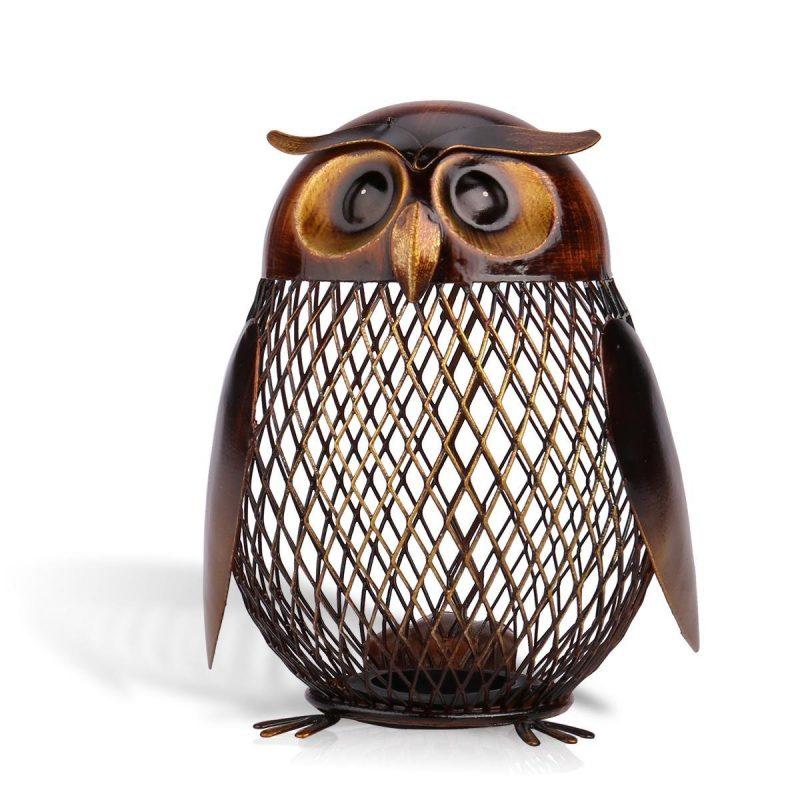 Owl Shaped Metal Coin Bank Box