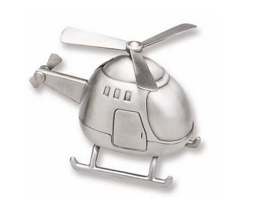 Pewter Finish Helicopter Piggy Bank