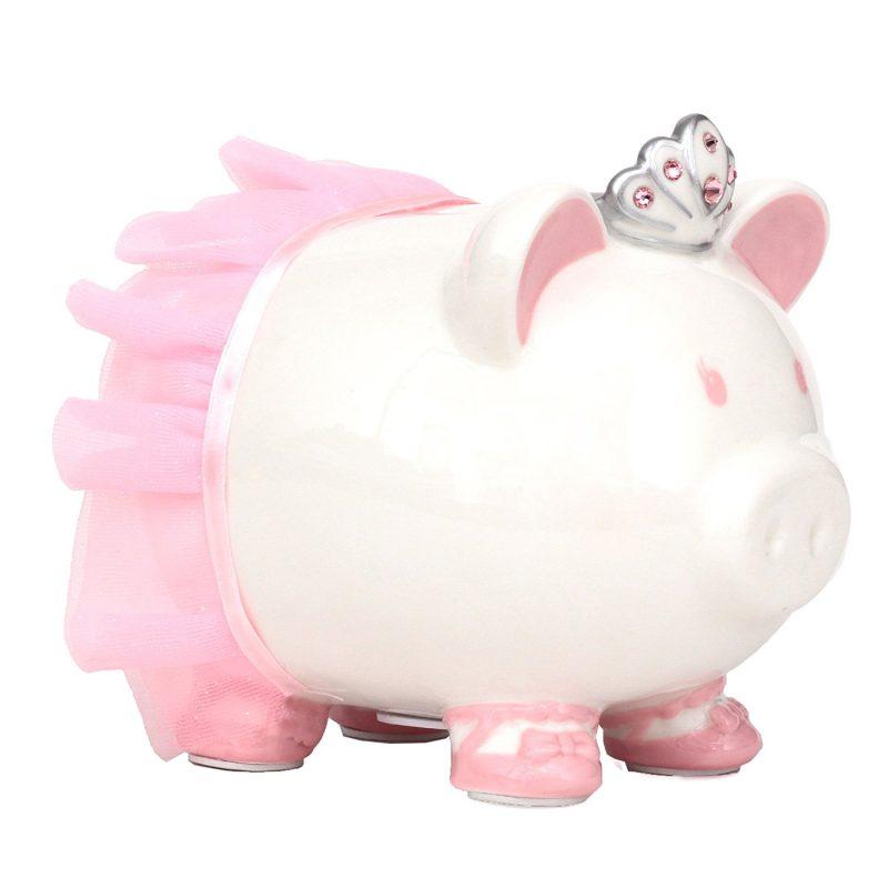 Swarovski with Crown Princess Porcelain Piggy Bank