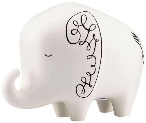 White with Black Designed Elephant Piggy Bank