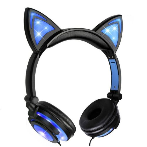 Adorable Black Cat Design Headset