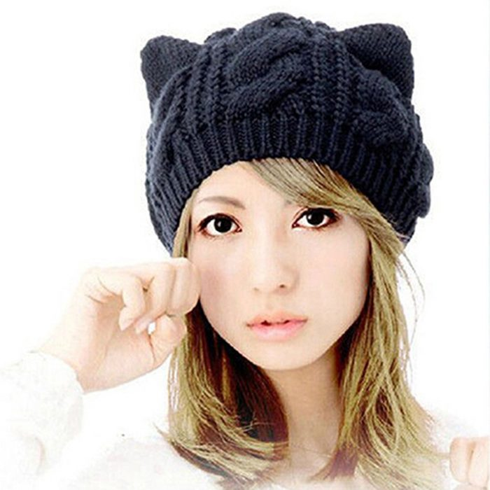 Awesome Black Cat Ears Design Beanie