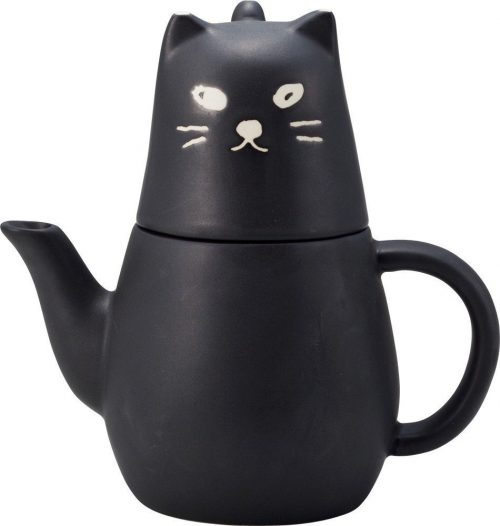Black Cat Design Tea Pot
