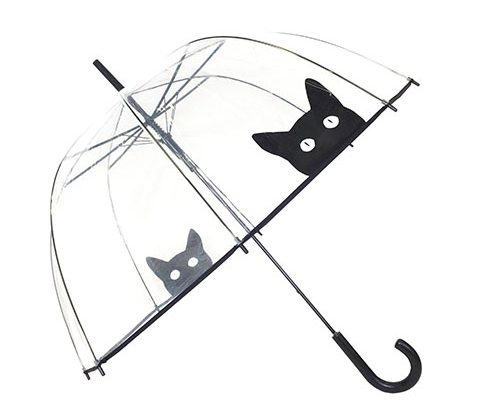 Black Cat Dome Transparent Umbrella