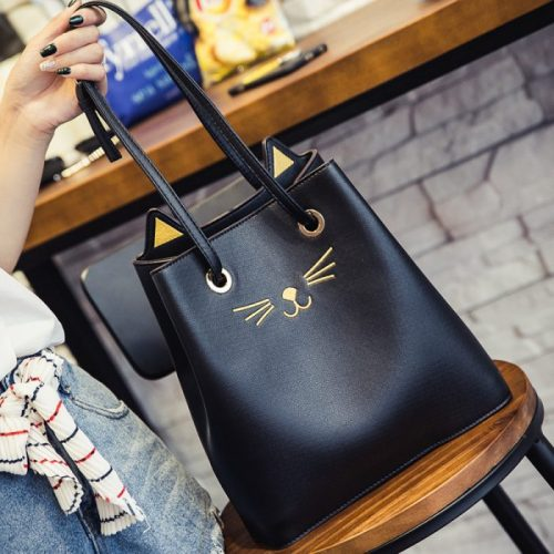 Black Cat Prick Ear Casual Shoulder Bag