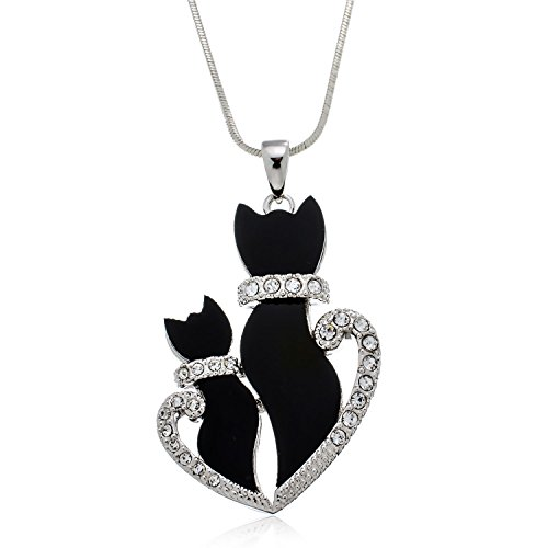 Double Black Kitty Cat Necklace