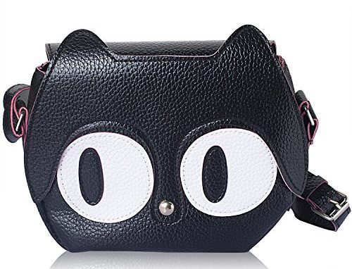 Fashionable Black Cat Face Pattern Small Handbag
