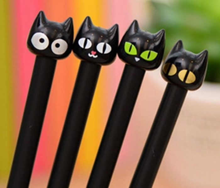 Funny Black Cat Faces Rollerball Pens