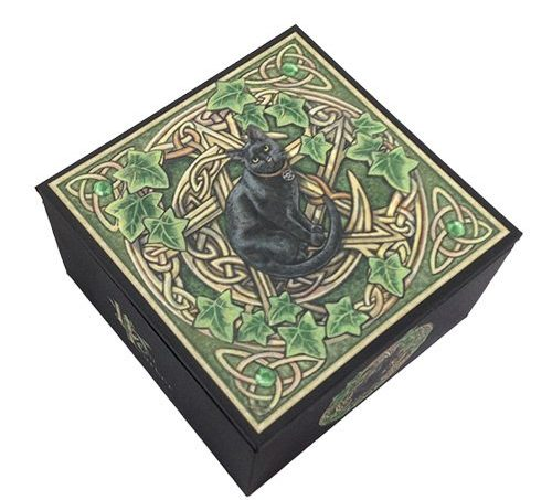 Mystic Black Cat Jewelry Mirror Box