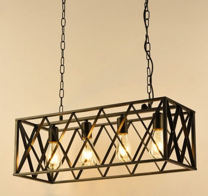 Rectangular Metal Cage Pendant Light