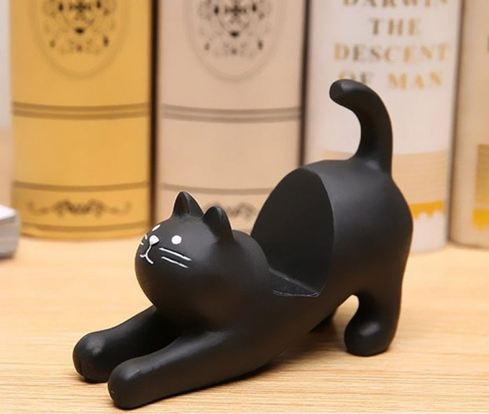 Stretching Black Cat Smartphone Stand