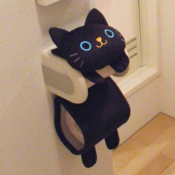 Super Cute Black Cat Toilet Paper Holder