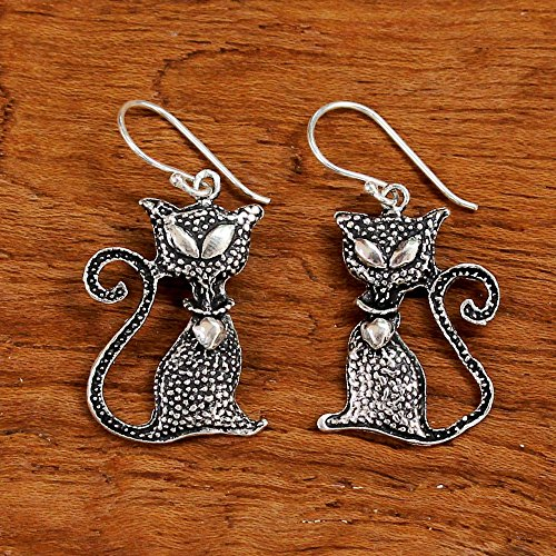Witch's Black Cat Silver Dangle Earrings