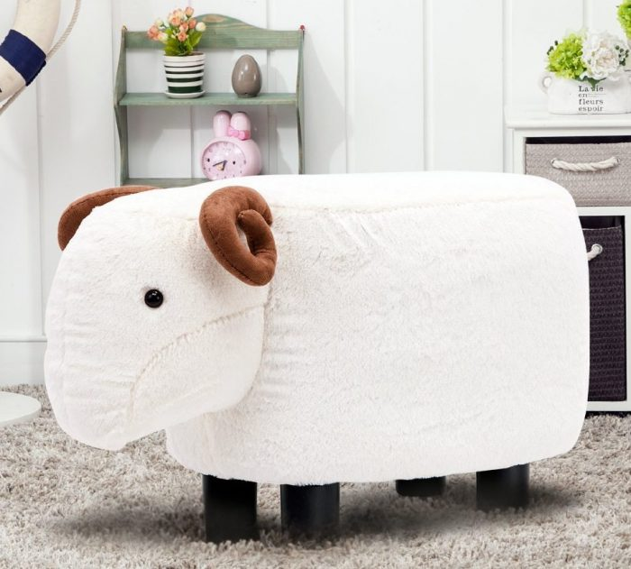 Beige Sheep Shaped Seat Ottoman