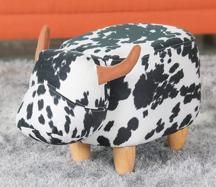 Black and White Cow Shaped Ottoman