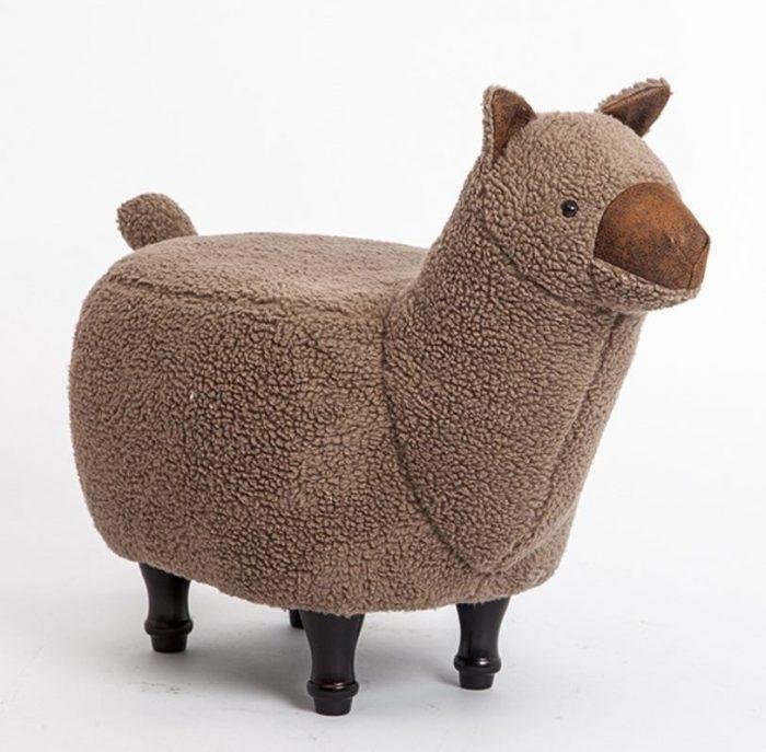 Creative Brown Alpaca Shape Ottoman