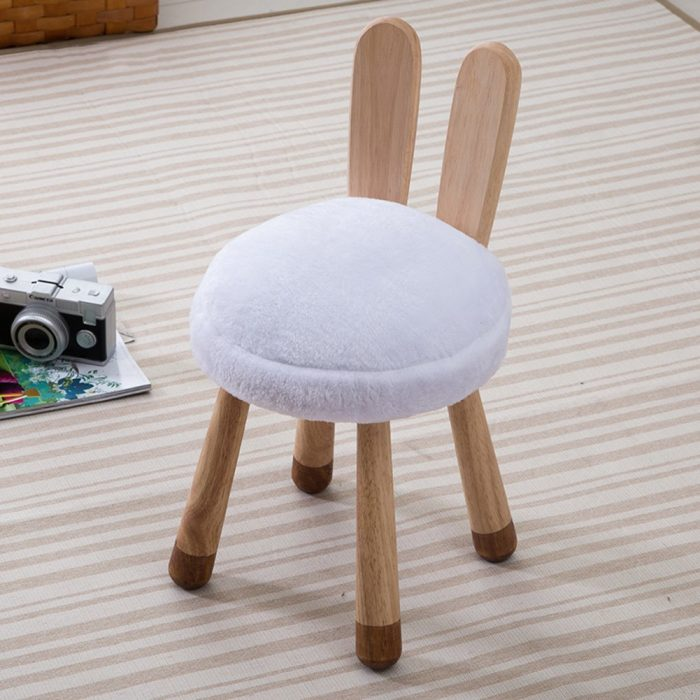Cute White Bunny Pattern Chair for Kids