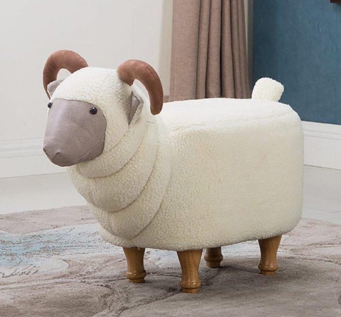 Cute White Goat Shape Ottoman
