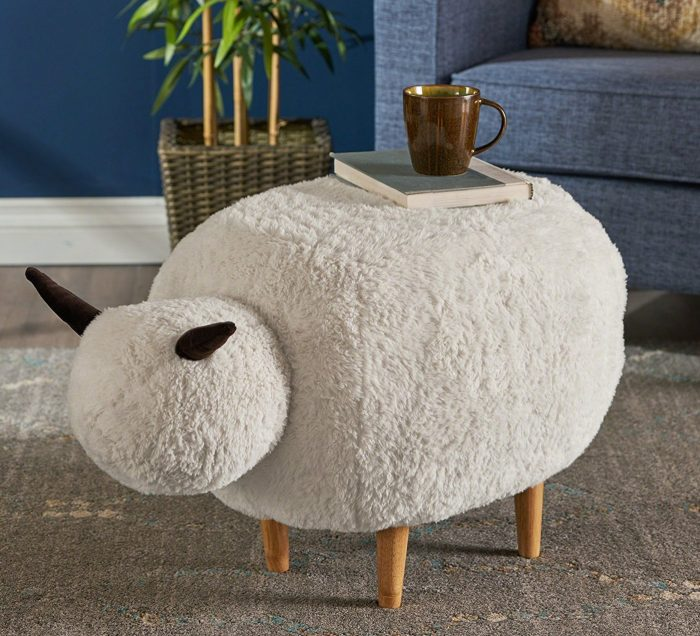 White Velvet Sheep Ottoman