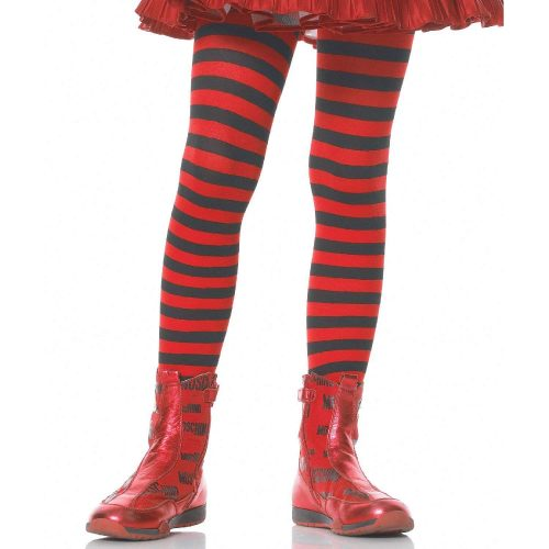 Black and Red Striped Opaque Tight Hotel Transylvania Costume