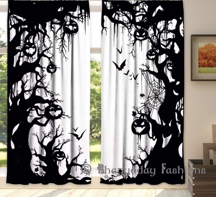 Gorgeous Spooky Pumpkin Halloween Door Curtains