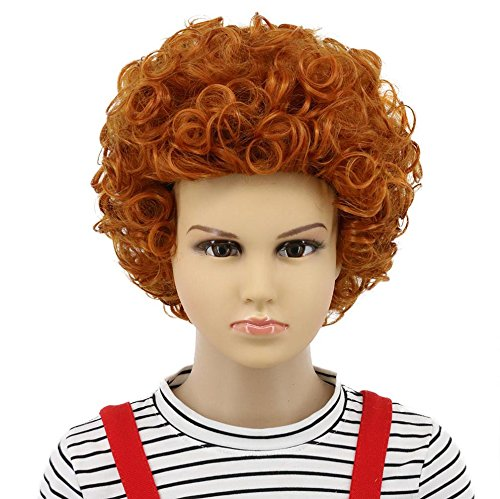 Short Bob Curly Orange Wig Hotel Transylvania Costume