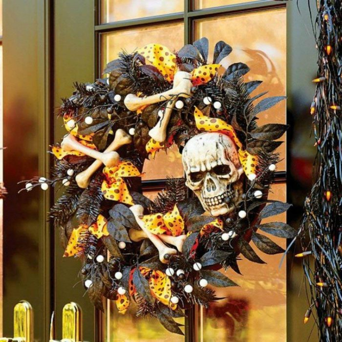 Skull and Bones Halloween Door Wreath