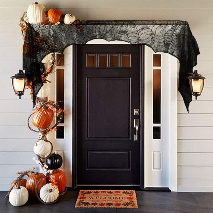 Spooky Spider Web Design Door Lace