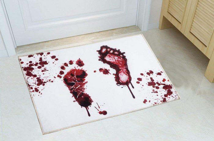 White Bloody footprint Doormat