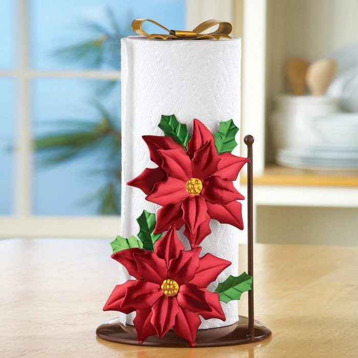 Beautiful Poinsettia Paper Towel Holder