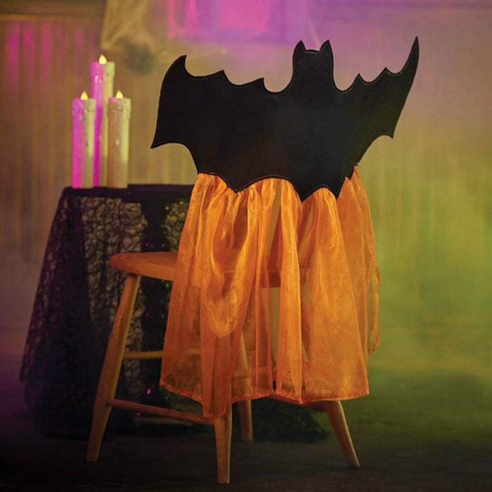 Black and Orange Bat Design Halloween Chair Cover