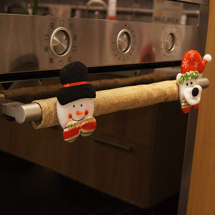 Christmas Burlap Appliance Handle Cover