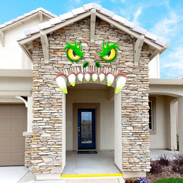 Cute Monster Face Halloween Archway Garage Door Decoration