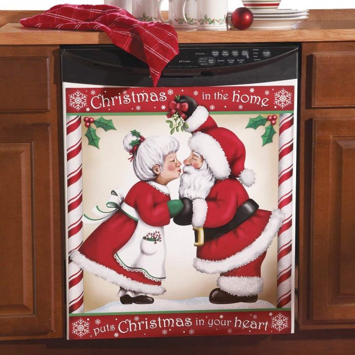 Decorative Kissing Santa Christmas Kitchen Dishwasher Cover