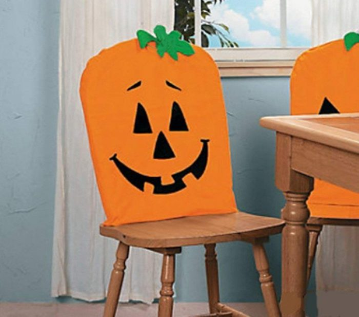 Fabric Pumpkin Halloween Chair Cover