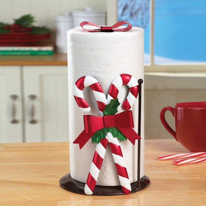 Festive Candy Cane Paper Towel Holder