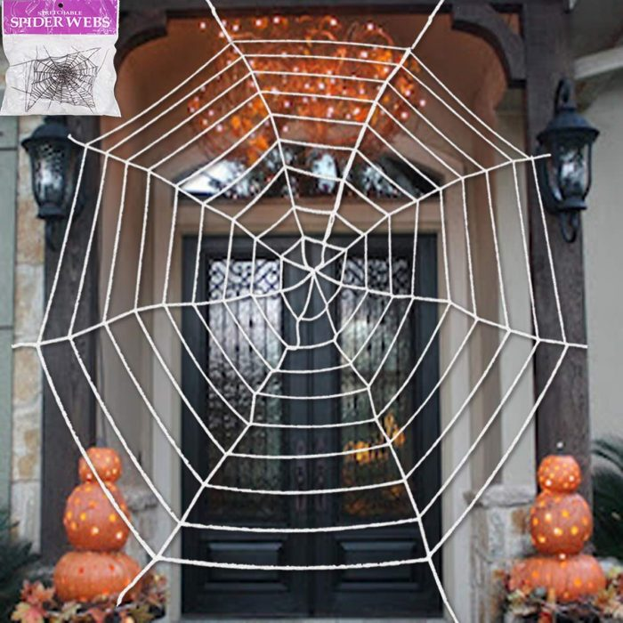 Giant Spider Web with Super Stretch Cobweb Halloween Door Decor