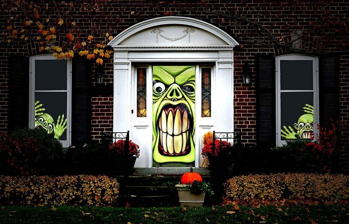 Green Goblin Halloween Door Cover