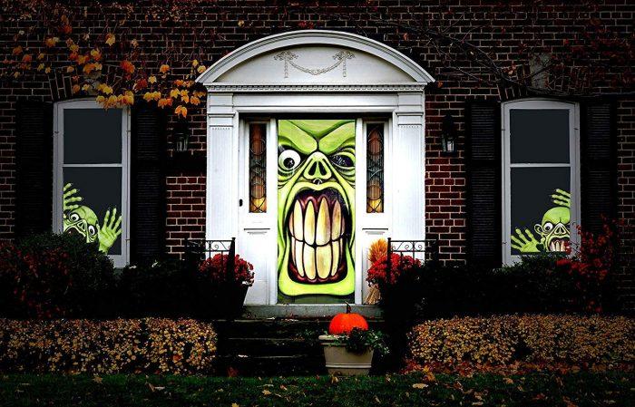 Green Goblin Halloween Door Cover
