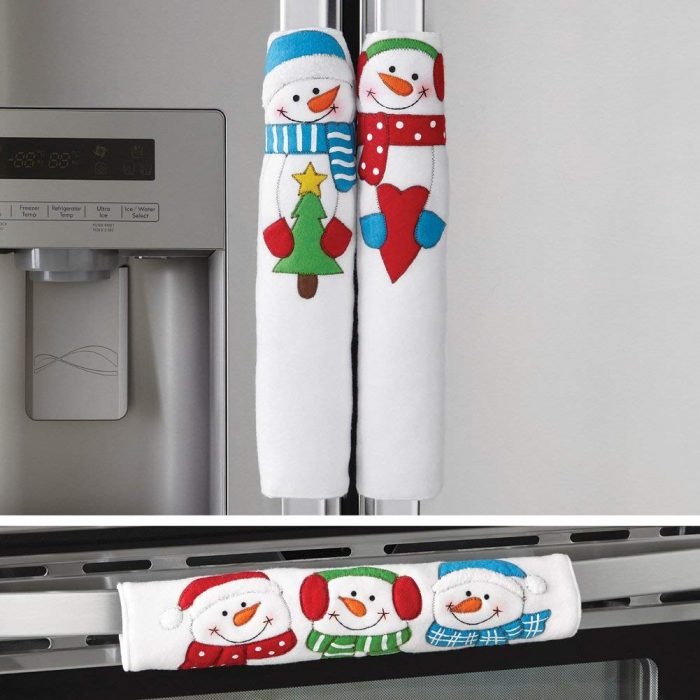 Happy Winter Snowman Appliance Handle Covers